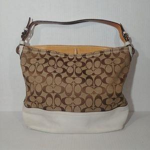 Coach Signature Leather Khaki Shoulder Bag Purse